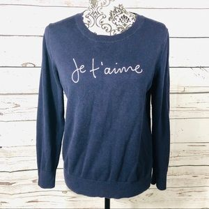 Banana Republic Je t'aime Embroidered Sweater M